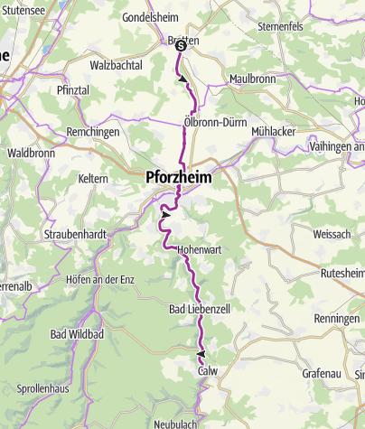 Karte / Heidelberg-Schwarzwald-Bodensee-Radweg - Etappe 2