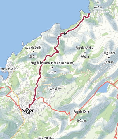 Map / Soller to Cala Tuent