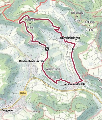 """Karte / Löwenpfad """"Wasserberg-Runde"""" - Panorama pur und typische Alblandschaften"""
