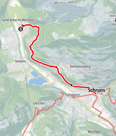 Karte / Talweg St.Anton-Schruns