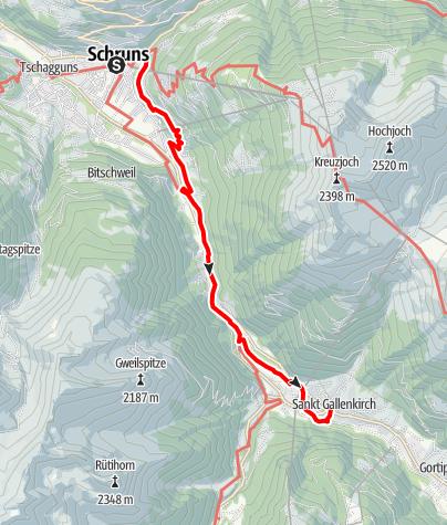 Karte / Talweg Schruns - St.Gallenkirch