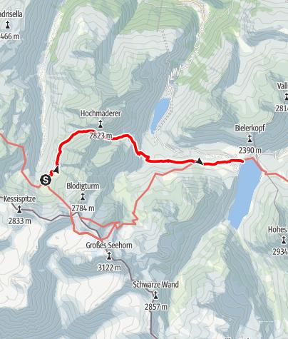 Karte / Silvrettarunde Montafon - Tübinger Hütte bis Madlenerhaus