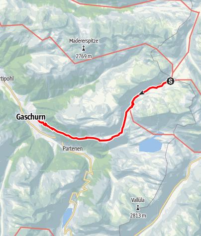 Karte / Verwallrunde Montafon - Neue Heilbronner Hütte bis Gaschurn