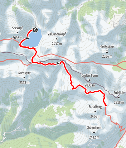 Kaart / Rätikonrunde Montafon - Douglass-Hütte bis Carschinahütte
