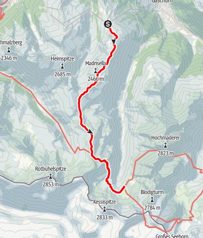 Kaart / Silvrettarunde Montafon - Bergstation Versettla Bahn bis Tübinger Hütte