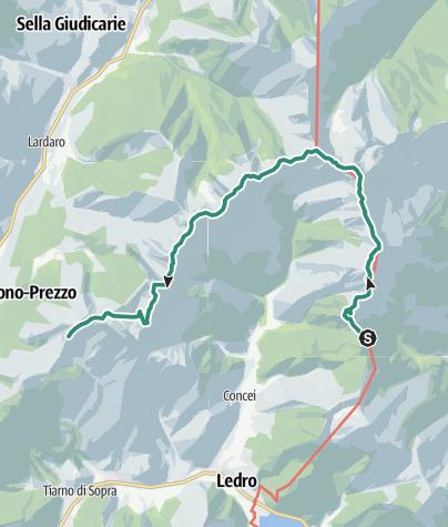 Map / Ledro Alps Trek Alpiedi - Leg 4: from Rifugio Pernici to Bivacco Campel