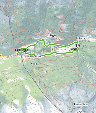 Karte / Bondo - Castasegna - Brentan
