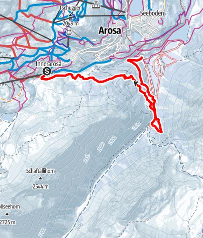Karte / Hörnli Express-Bärenbad-Isel-kleiner Alteinwasserfall-Langlaufbus