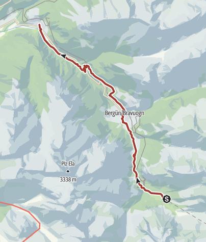Map / Bahnerlebnisweg Albula: Von Preda über Bergün nach Filisur