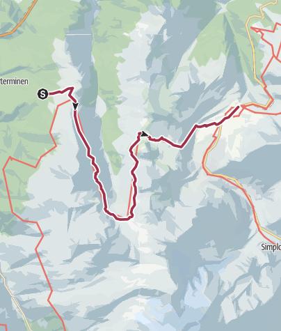 Carte / De Visperterminen au Simplon à travers le Nanztal