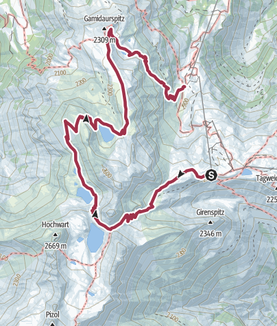 Karte / 5-Seen-Wanderung Pizol