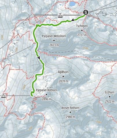 Map / Hörnli Bergstation - Urdenbahn - Parpaner Rothorn