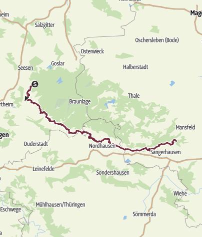 Karte / Karstwanderweg Südharz | mit der Nordvariante im Landkreis Göttingen