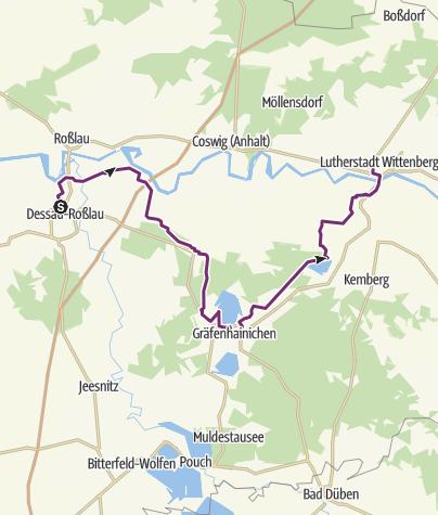 Karte / Europaradweg R1 zwischen Dessau-Roßlau und Lutherstadt Wittenberg