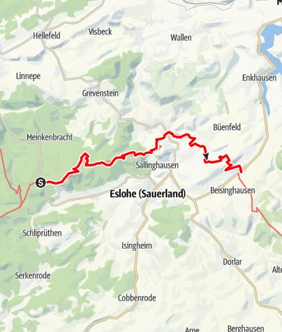 """Karte / Wandertaxi """"Höhenflug"""": Birkenbrauck nach Wenholthausen / Reiste"""