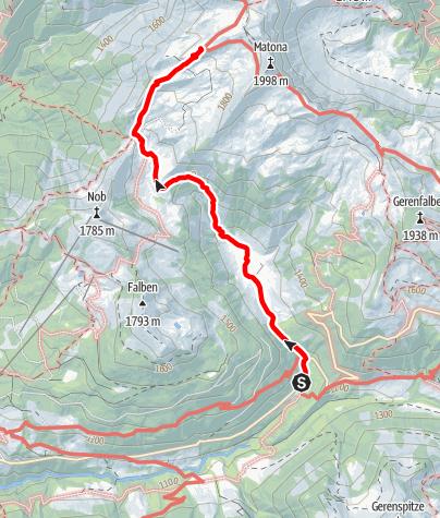 Karte / Zustieg auf das Freschenhaus von Bad Laterns