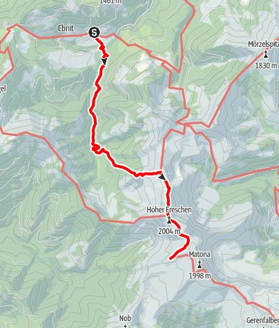 Karte / Zustieg auf das Freschenhaus von Ebnit über den Hohen Freschen (Binnelgrat)