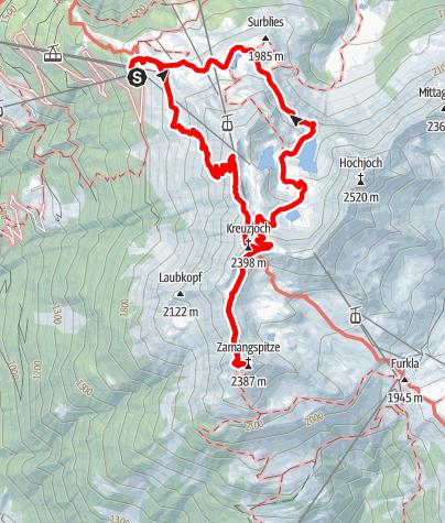 Kaart / Gipfelweg Zamangspitze (retour über Seeweg)