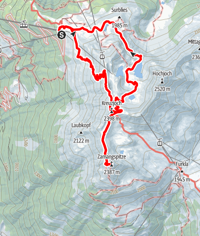 Map / Gipfelweg Zamangspitze (retour über Seeweg)