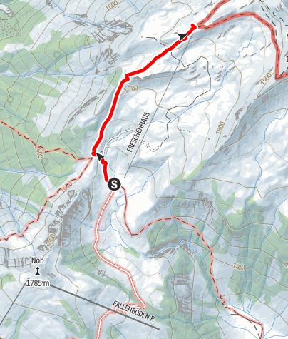 Karte / Zustieg auf das Freschenhaus von der Unteren Saluveralpe