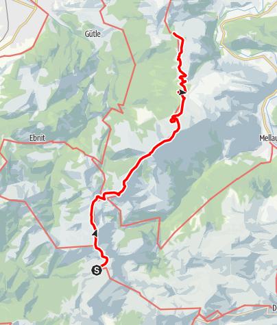 Karte / Übergang vom Freschenhaus auf die Lustenauer Hütte