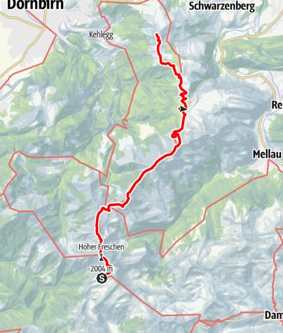 Karte / Übergang vom Freschenhaus auf die Hochälpelehütte