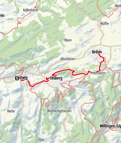 Map / Sauerland-Waldroute mit Bus und Bahn: Von Brilon Stadt nach Bestwig (NWL)