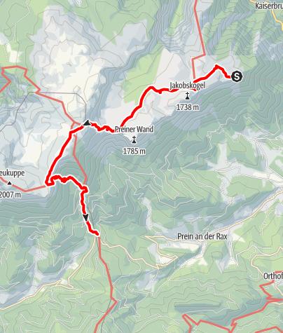 Karte / Hüttenhüpfen auf der Raxalpe (Variante 1b)