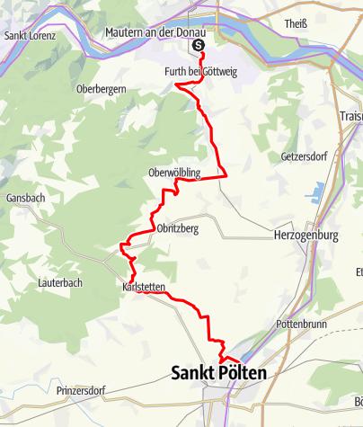 Karte / Fladnitztal-Radroute (Variante über Karlstetten)