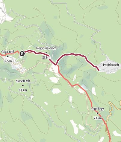 Karte / Galyatető - Parádsasvár