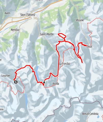Kaart / Haute Route de Valais