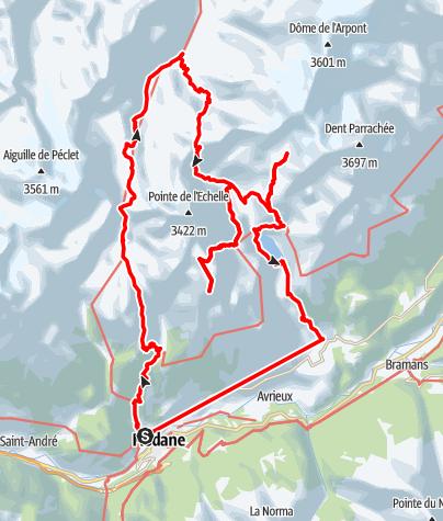 Kaart / Parc National de la Vanoise 5-daagse gezinstocht