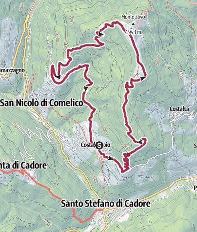Map / ANELLO DA COSTALISSOIO, MONTE ZOVO, COSTA, COSTALISSOIO - Santo Stefano di Cadore, San Nicolò di Comelico