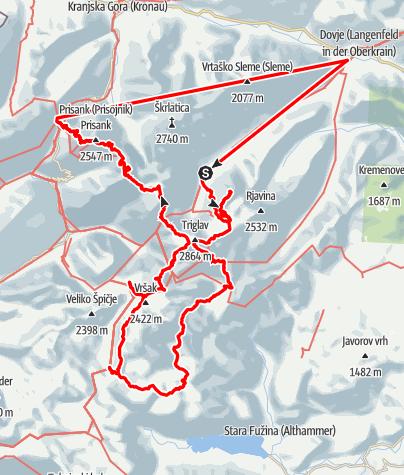 Kaart /  Julische Alpen en Triglav Nationaal  Park