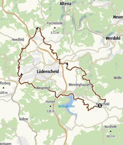 Karte / Herscheid nach Mesekendahl und zurück