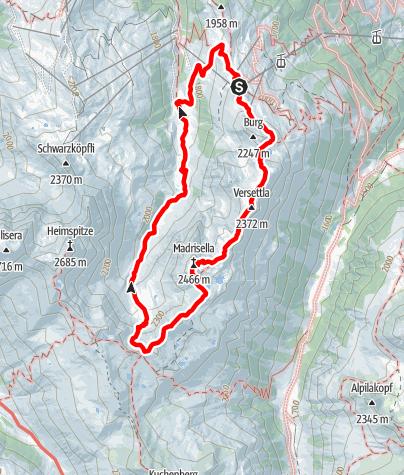 Karte / Gipfelweg Madrisella (bis Versettla Bahn Bergstation)