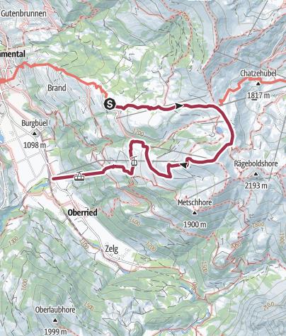 Cartina / Berghäuser - Pass: Hahnenmoospass