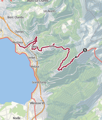 Karte / Via Alpina: Rochers de Naye - Montreux