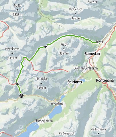 Map / Julier Hospiz - Fuorcla d`Agnel - Val Bever- Bever