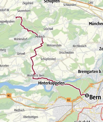 Map / Wald- und Kirchwege vom Stadtrand zum Frienisberg