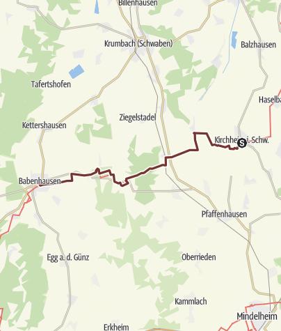 Karte / Bayr-Schwäb-JW: Kirchheim - Babenhausen