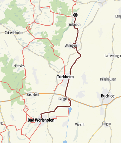 Karte / Bayr-Schwäb-JW: Kirch-Siebnach - Bad Wörishofen