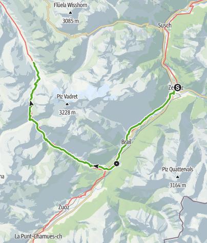 Karte / Jakobsweg Graubünden, Zernez-S-chanf