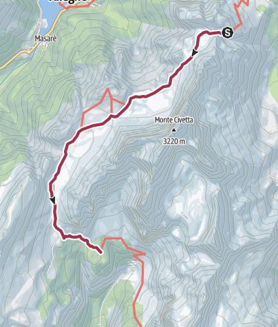 Map / Rifugio Coldai to Rifugio Vazzoler
