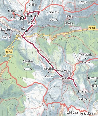 Map / Rifugio Lagazuoi to Rifugio Nuvolau