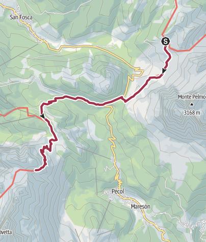 Map / Rifugio Citta di Flume to Rifugio Coldai