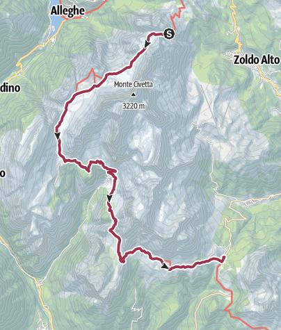 Map / Rifugio Coldai to Rifugio Passo Duran