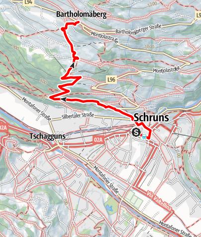Karte / Von Schruns auf den Bartholomäberg