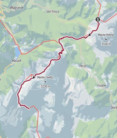 Map / Rifugio Citta di Fiume to Rifugio Vazzoler