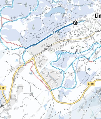 Karte / Lindenberg Zustiegsloipe Austraße zur Waldsee- und Hallenbad/Hansenweiherloipe